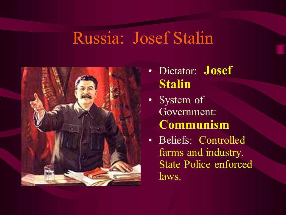 Russia: Josef Stalin Dictator: Josef Stalin