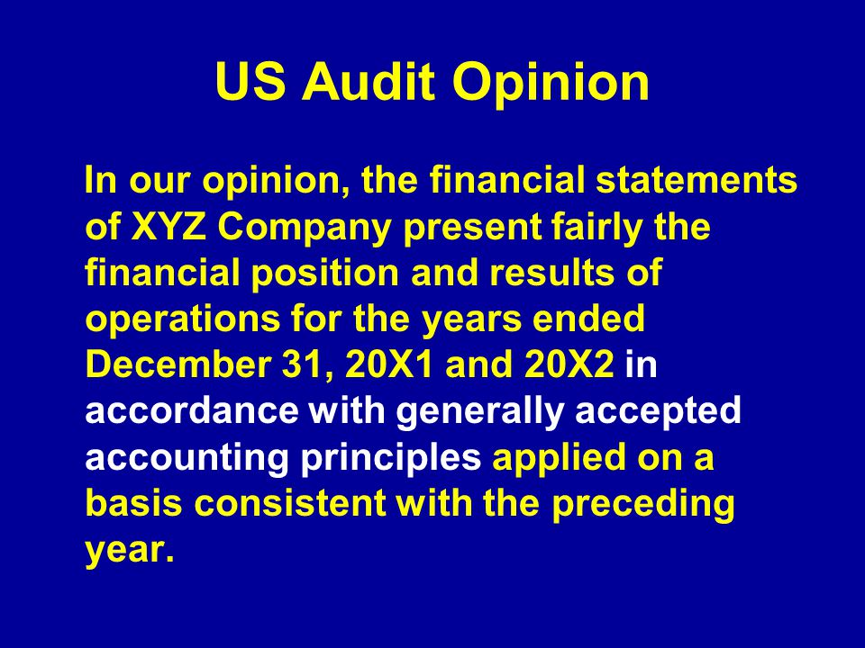 US Audit Opinion