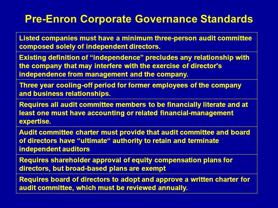 Pre-Enron Corporate Governance Standards