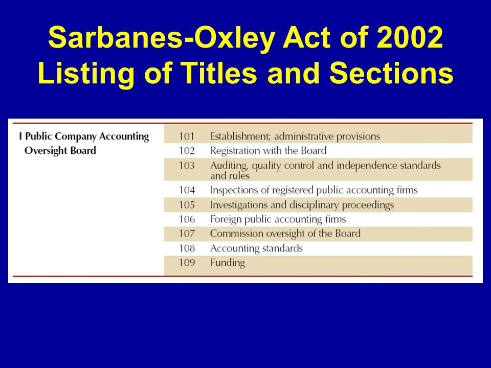 primer on the sarbanes oxley act 2002 Sox: creating the public accounting oversight board & increased corporate responsibility- the sarbanes-oxley act (the act) was passed in july 2002 in response to the rash of real and perceived failures in corporate governance and financial disclosure.