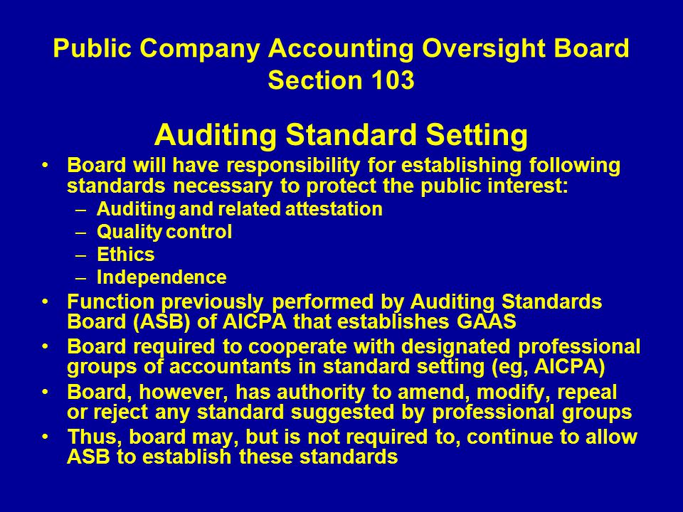 Public Company Accounting Oversight Board Section 103