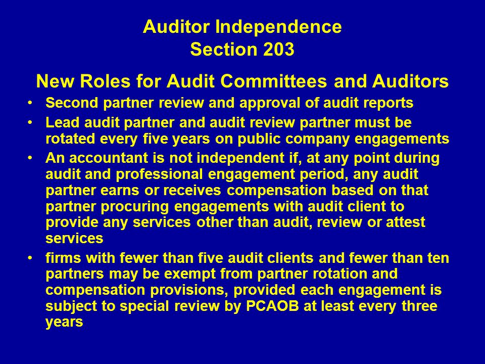 audit independence Auditors are expected to give an unbiased opinion and should be independent from a client company read about auditor independence.