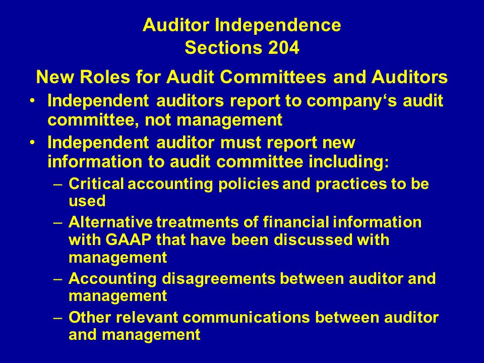 auditor independence View auditor independence research papers on academiaedu for free.