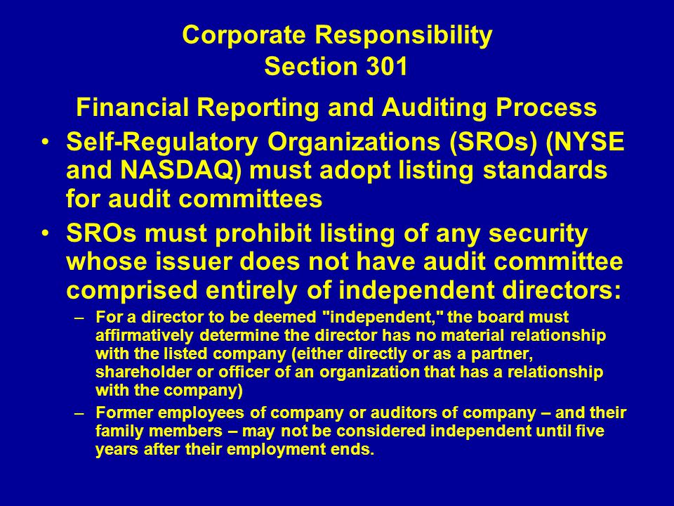 Corporate Responsibility Section 301