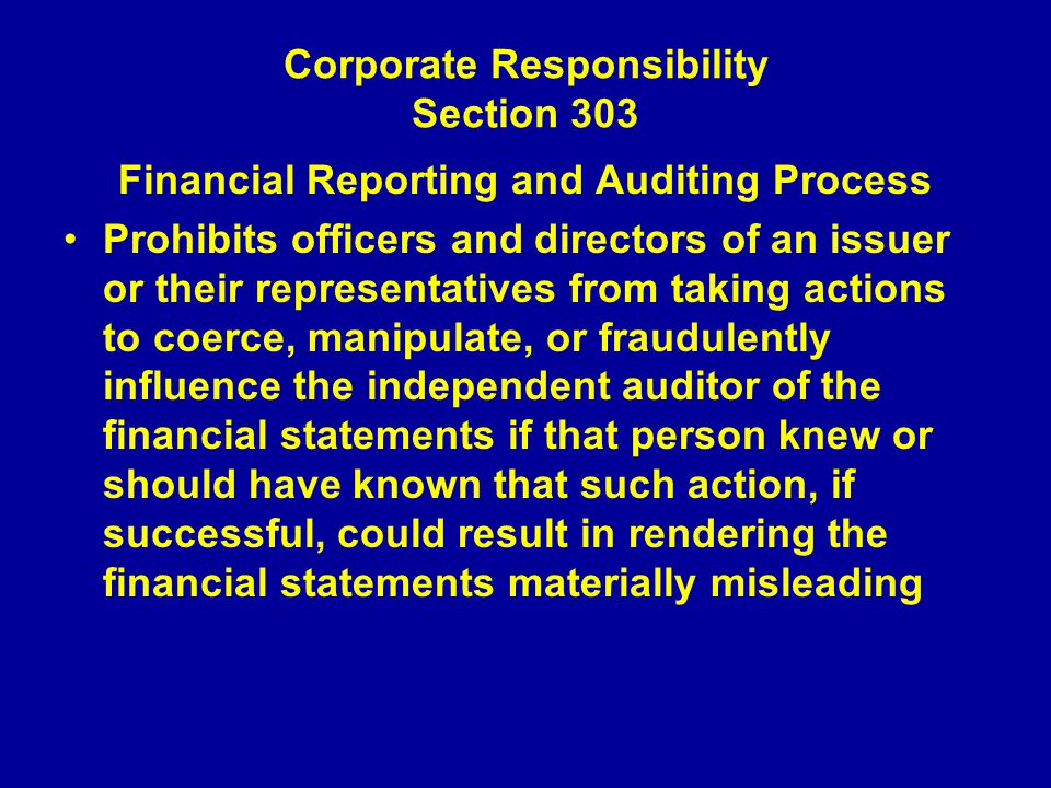 Corporate Responsibility Section 303