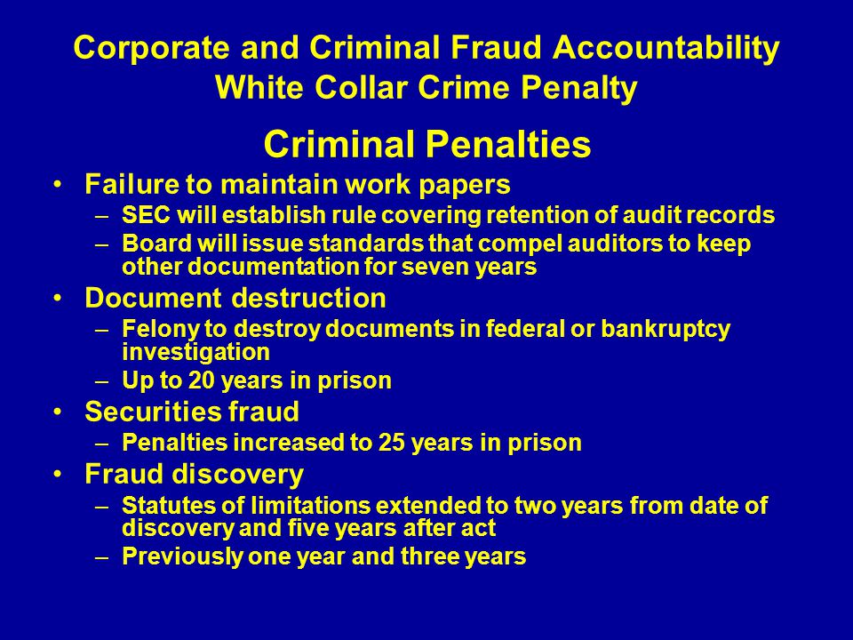 Corporate and Criminal Fraud Accountability White Collar Crime Penalty