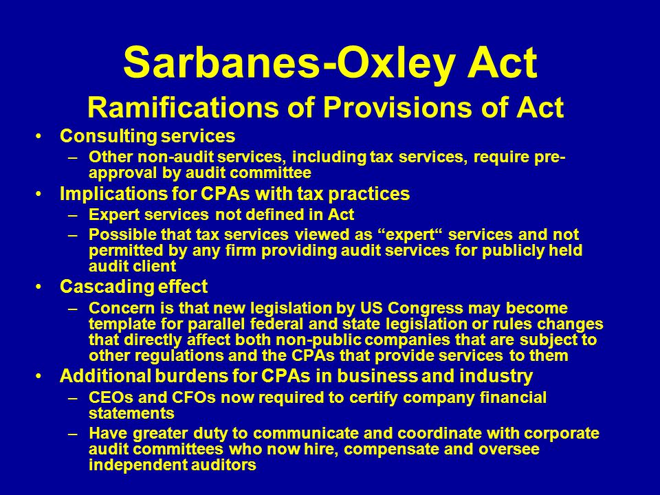 Ramifications of Provisions of Act