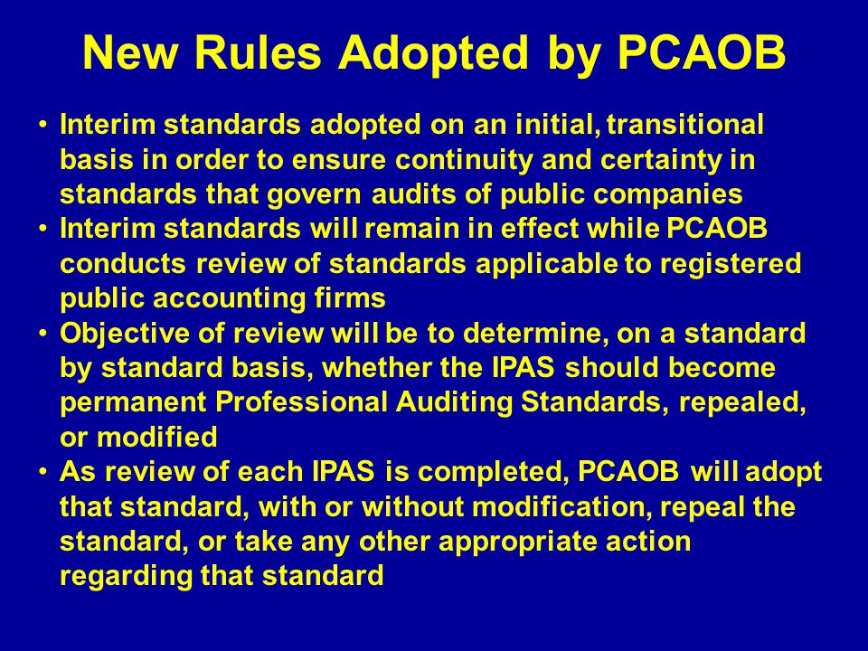 New Rules Adopted by PCAOB
