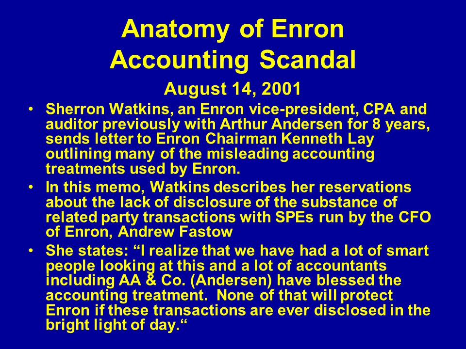 impact enron has had on the auditing and accounting profession Enron's audit committee did not have the technical knowledge to question the auditors properly on accounting issues related to the company's special purpose entities the committee was also unable to question the company's management due to pressures on the committee [63.