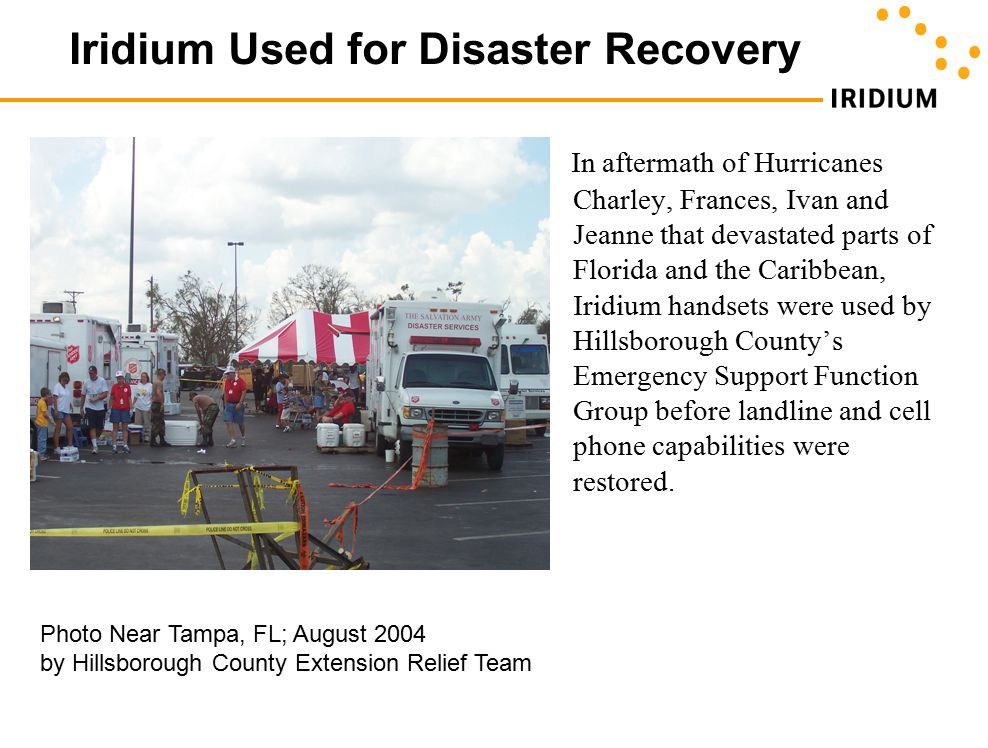 Iridium Used for Disaster Recovery