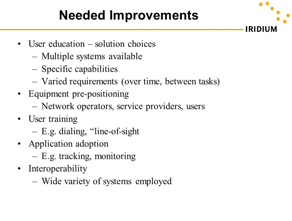 Needed Improvements User education – solution choices