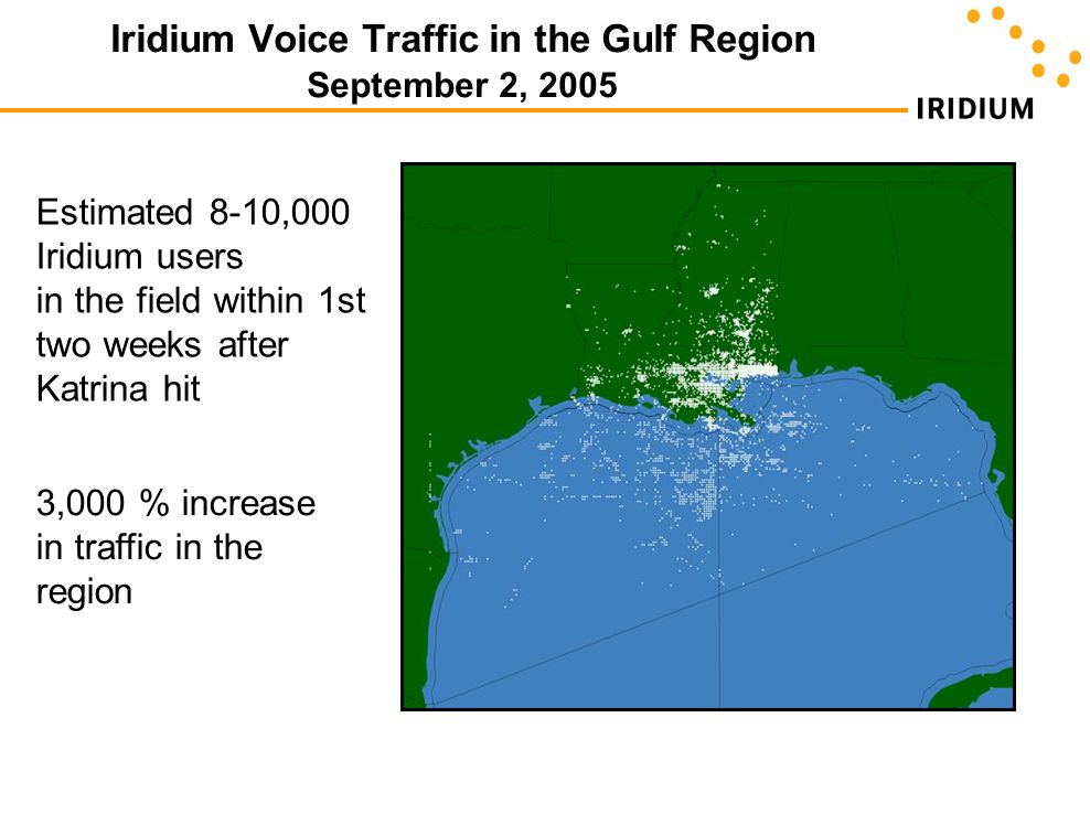 Iridium Voice Traffic in the Gulf Region September 2, 2005
