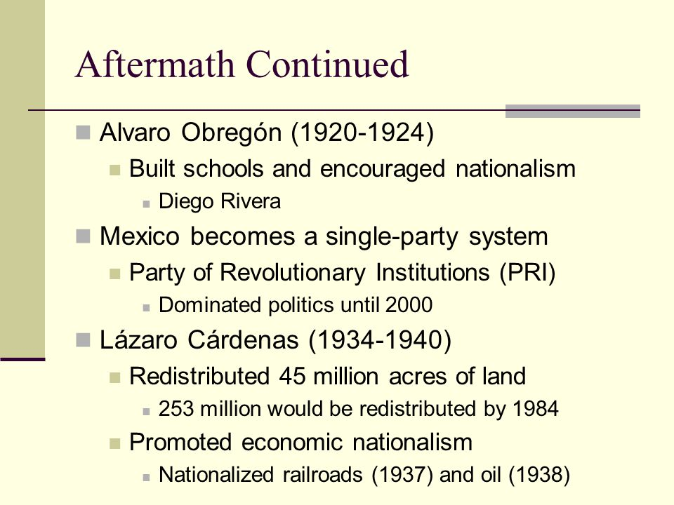 Aftermath Continued Alvaro Obregón (1920-1924)