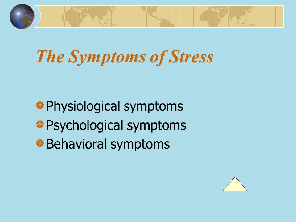 The Symptoms of Stress Physiological symptoms Psychological symptoms