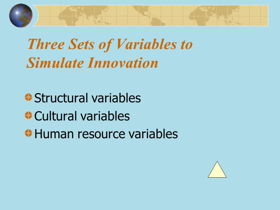 Three Sets of Variables to Simulate Innovation