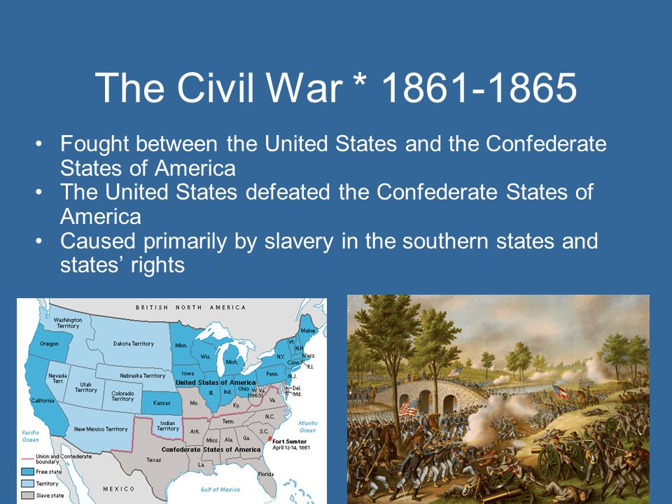 The Civil War * 1861-1865 Fought between the United States and the Confederate States of America.