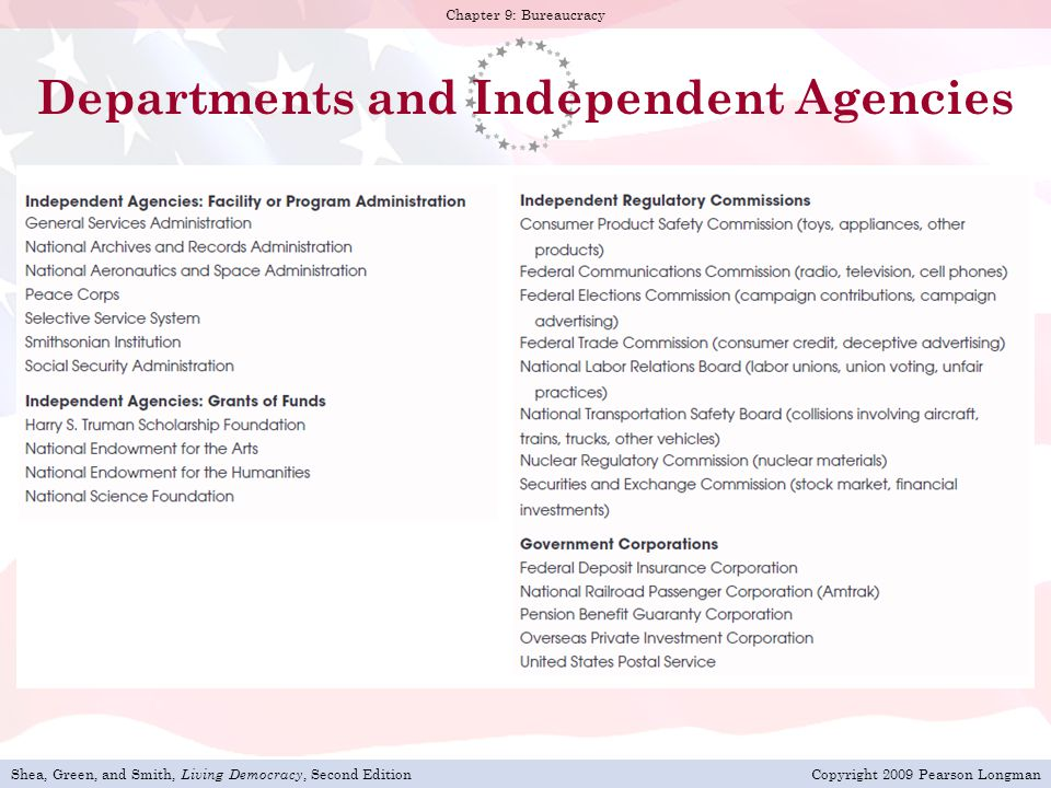 Departments and Independent Agencies