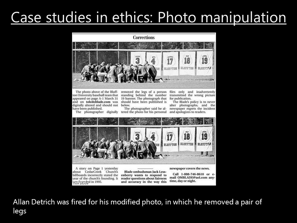 Case studies in ethics: Photo manipulation