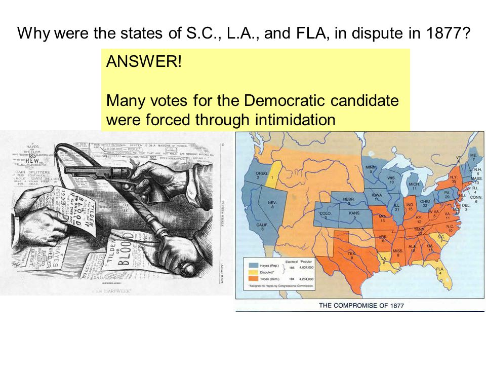 Why were the states of S.C., L.A., and FLA, in dispute in 1877