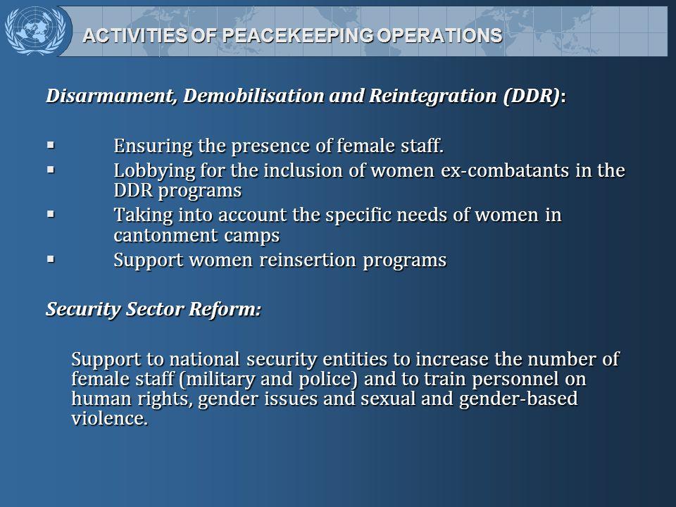 ACTIVITIES OF PEACEKEEPING OPERATIONS