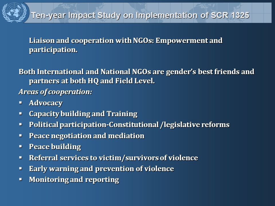 Ten-year Impact Study on Implementation of SCR 1325