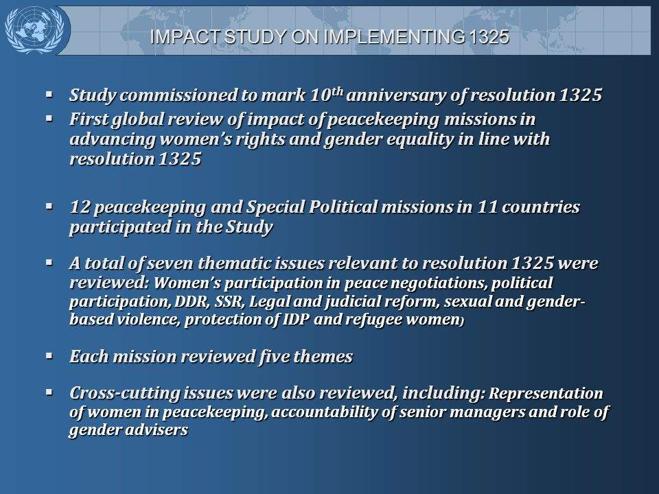 IMPACT STUDY ON IMPLEMENTING 1325