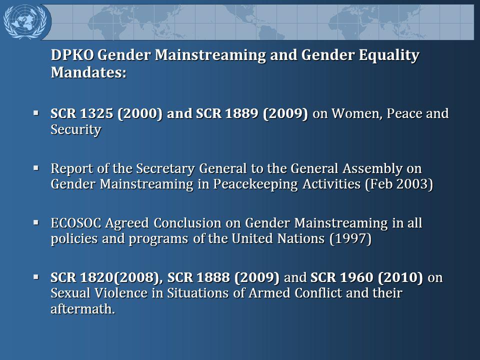 DPKO Gender Mainstreaming and Gender Equality Mandates: