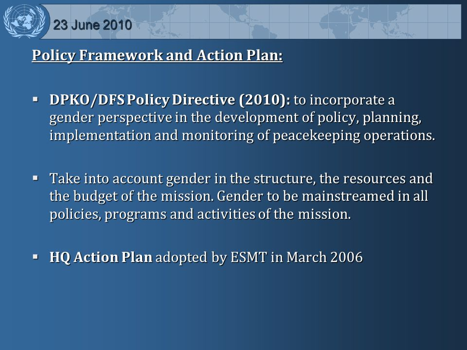 Policy Framework and Action Plan: