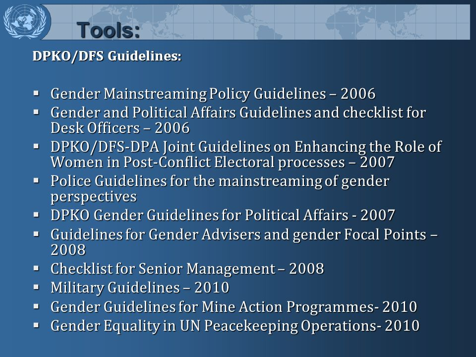 Tools: Gender Mainstreaming Policy Guidelines – 2006