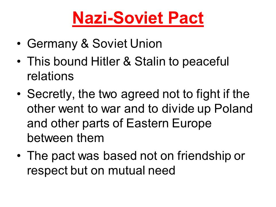 Nazi-Soviet Pact Germany & Soviet Union