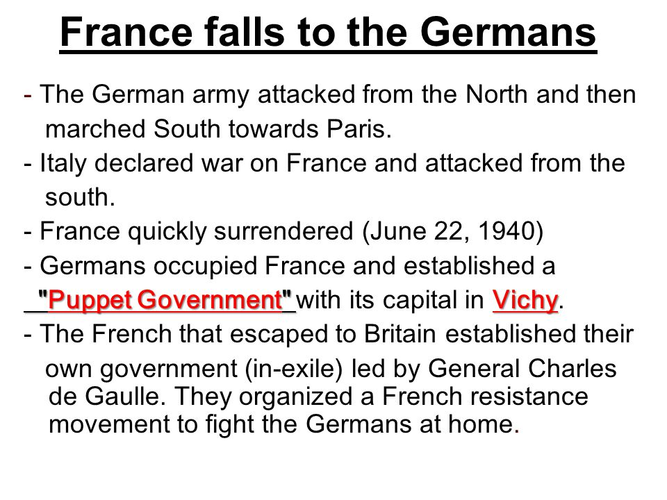 France falls to the Germans