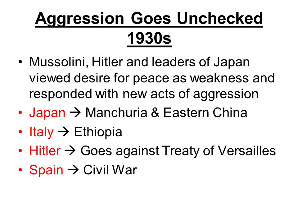 Aggression Goes Unchecked 1930s
