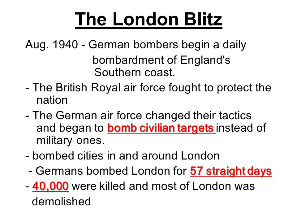 The London Blitz Aug. 1940 - German bombers begin a daily