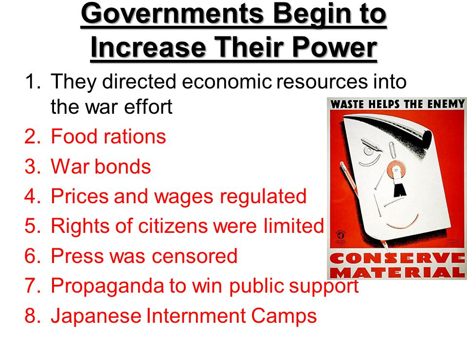 Governments Begin to Increase Their Power
