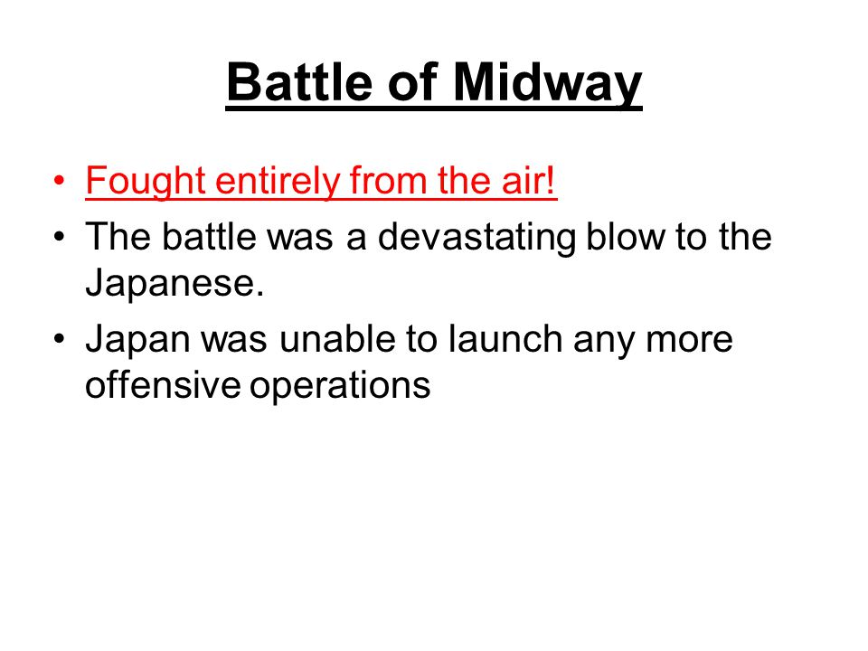 Battle of Midway Fought entirely from the air!
