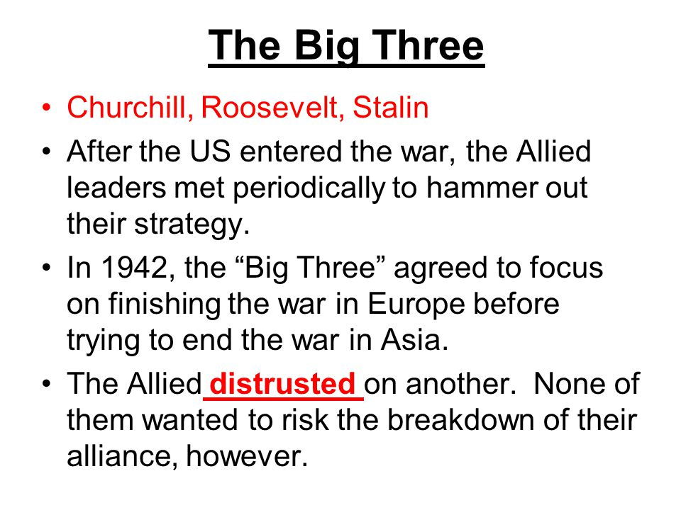 The Big Three Churchill, Roosevelt, Stalin