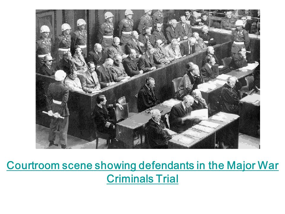 Courtroom scene showing defendants in the Major War Criminals Trial