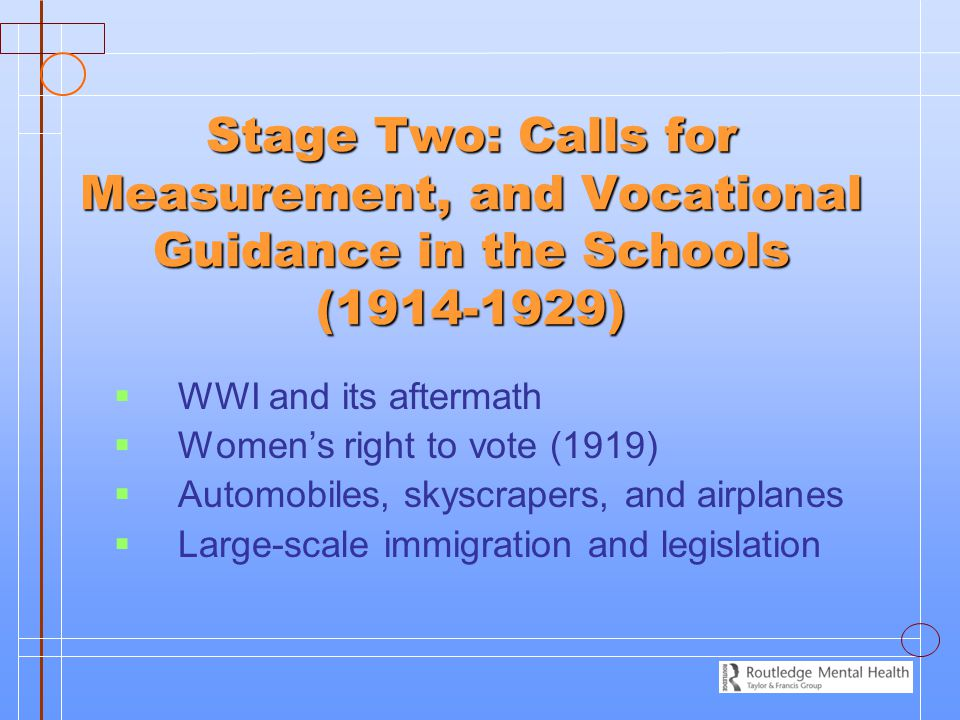 Stage Two: Calls for Measurement, and Vocational Guidance in the Schools (1914-1929)