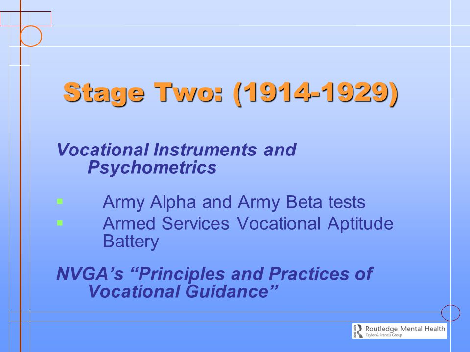 Stage Two: (1914-1929) Vocational Instruments and Psychometrics