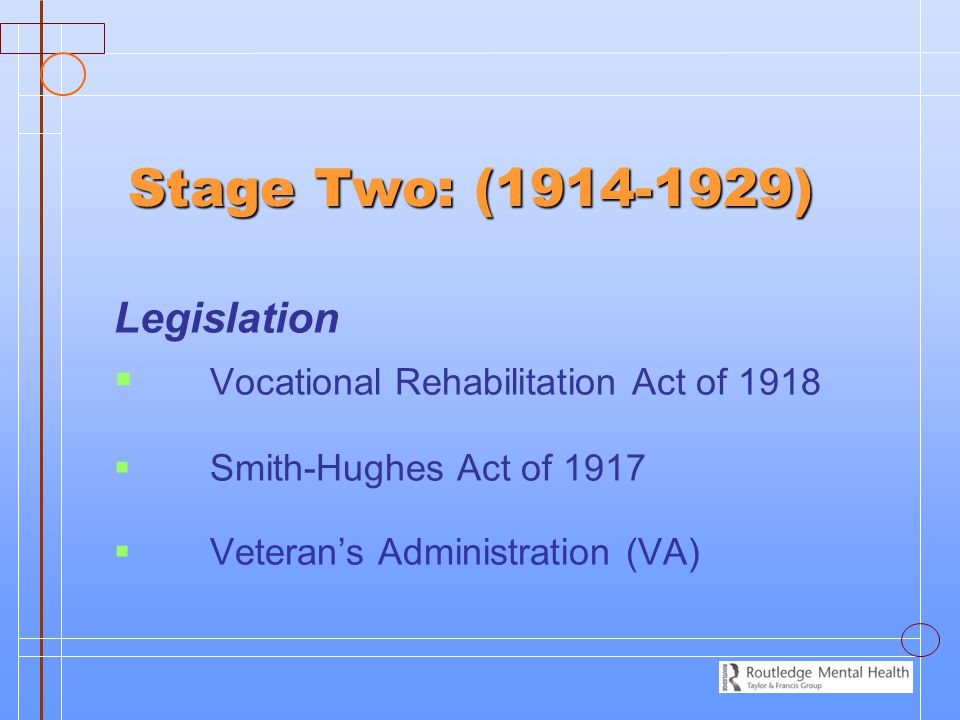 Stage Two: (1914-1929) Legislation