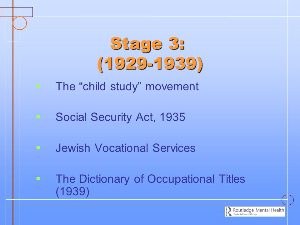 Stage 3: (1929-1939) The child study movement