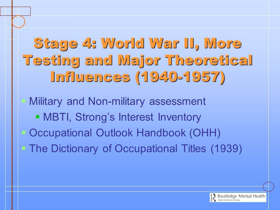 Stage 4: World War II, More Testing and Major Theoretical Influences (1940-1957)