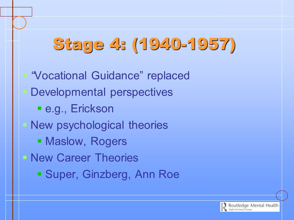 Stage 4: (1940-1957) Vocational Guidance replaced