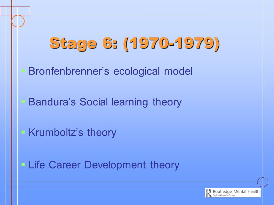 Stage 6: (1970-1979) Bronfenbrenner's ecological model