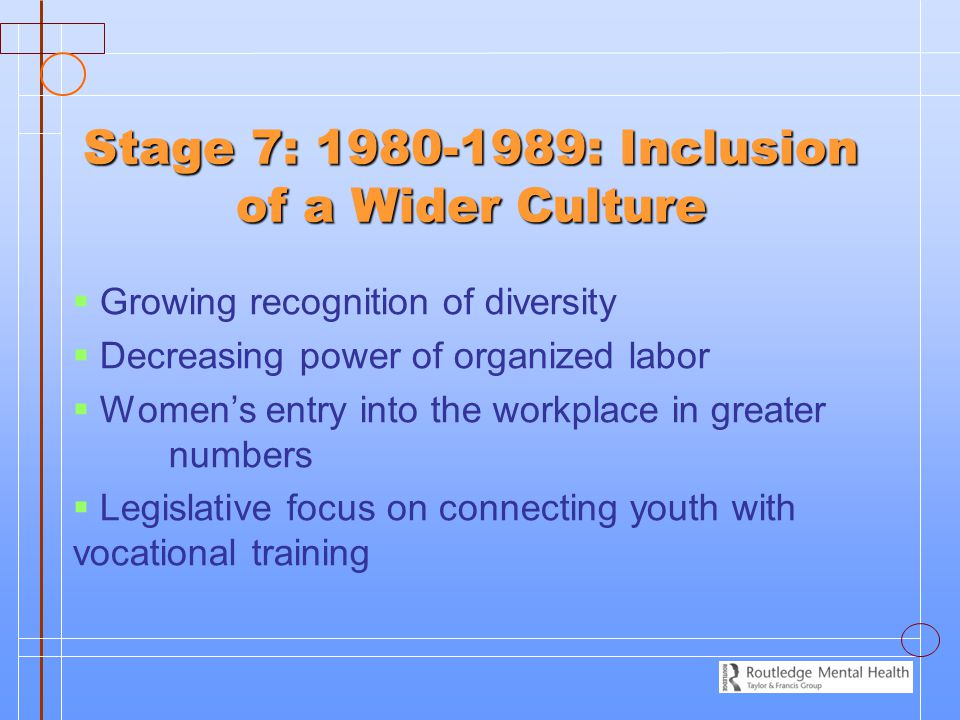 Stage 7: 1980-1989: Inclusion of a Wider Culture