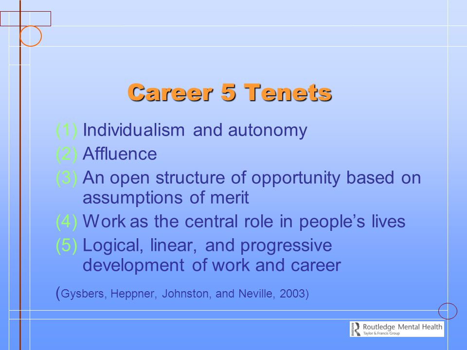 Career 5 Tenets Individualism and autonomy Affluence