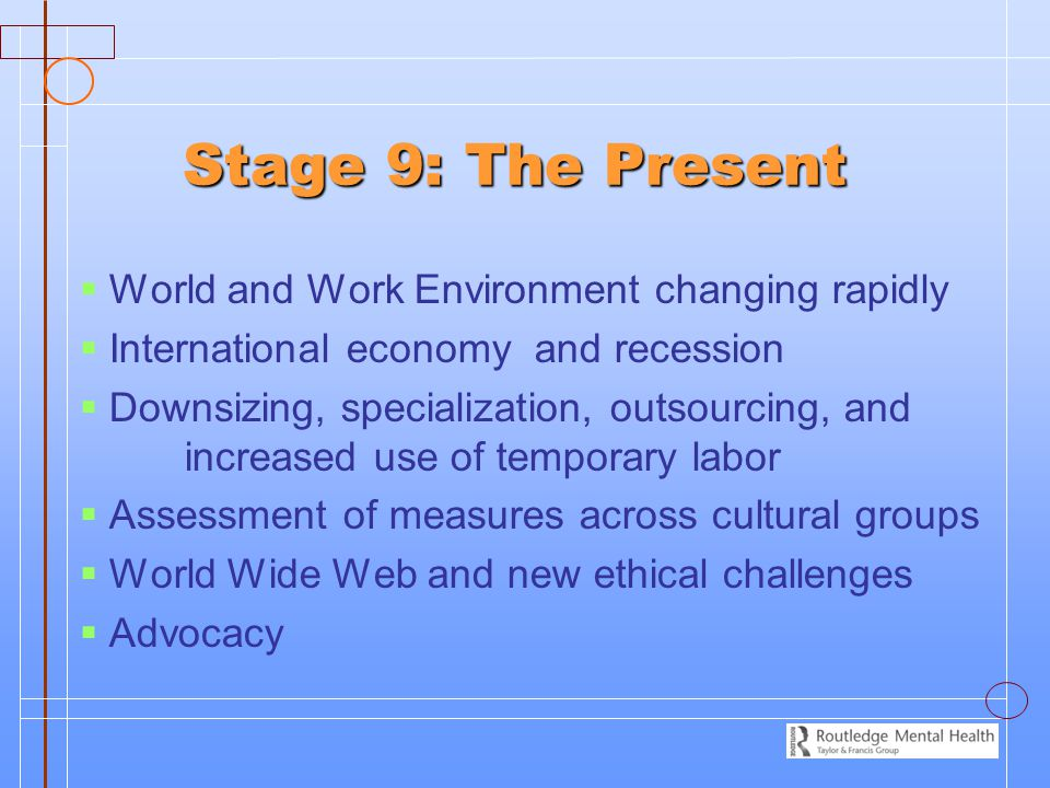 Stage 9: The Present World and Work Environment changing rapidly