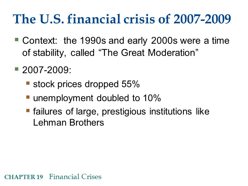 The U.S. financial crisis of 2007-2009