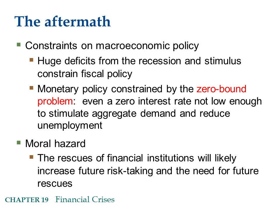 The aftermath Constraints on macroeconomic policy Moral hazard