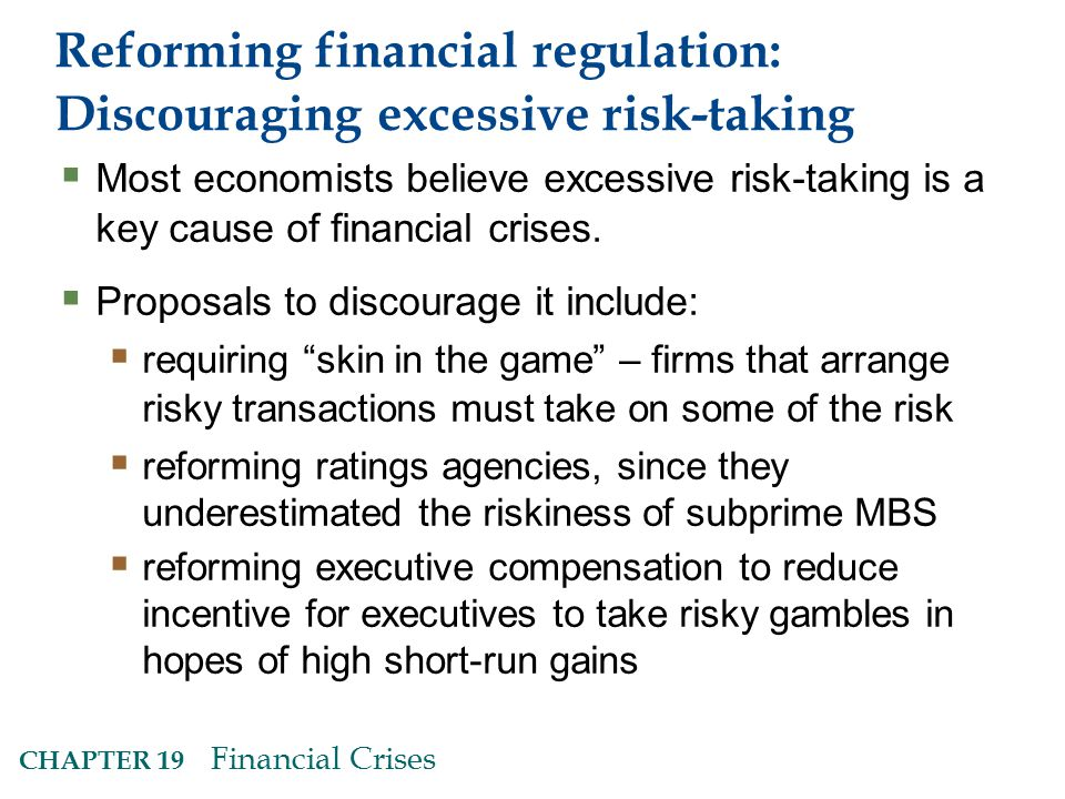 Reforming financial regulation: Discouraging excessive risk-taking
